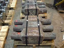 Metal prepped for crankshaft forging at Great Lakes Forge in Michigan
