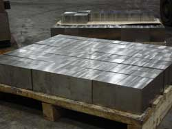 Stainless steel blocks ready for forging at Great Lakes Forge