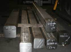 Stainless steel shafts prepared for forging at Great Lakes Forge Michigan